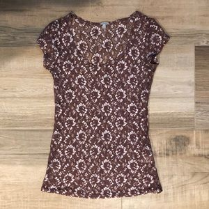 Lace Short Sleeve Top | CR